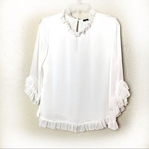 Ann Taylor factory ivory ruffle tunic blouse med